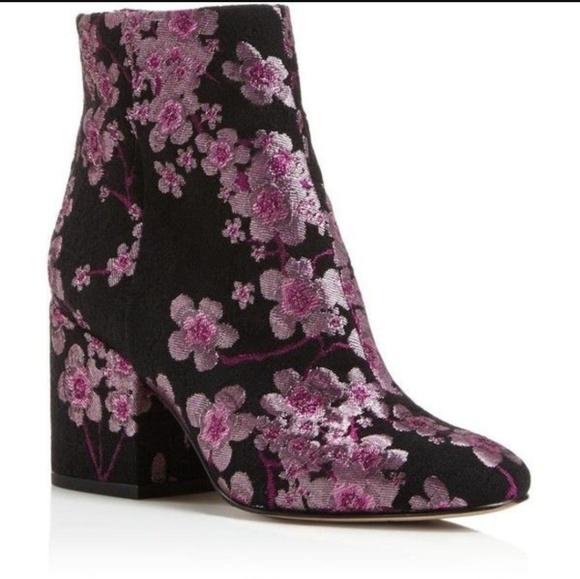 0d9dfef5c4c3 Sam Edelman Taye Pink Black Floral Bootie 7.5. M 5b47ef4e5c4452e6738d4fa6